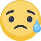 😥 Facebook / Messenger Disappointed but Relieved Face Emoji - Facebook Website