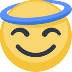 😇 Facebook / Messenger Smiling Face With Halo Emoji - Facebook Website