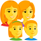 Facebook Emoji 👩‍👩‍👧‍👦 - Family: Woman, Woman, Girl, Boy Messenger