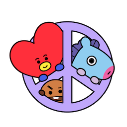 BT21 Love and Peace Facebook sticker #6